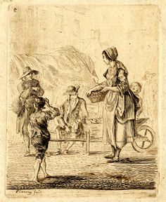Figure studies; a woman holding a basket against her hip standing on the right, looking to left at a man standing by a wagon and another sitting by a barrow, with a boy in the left foreground, scratching his head; houses and other figures behind. Etching printed in brownish ink  Paul Sandby 1740-1765 (circa)