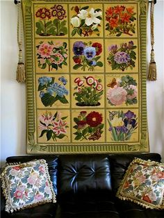 Elizabeth Bradley cushions and the work of art that is the wall hanging, using kits from the Botanical series and the Ribbon and Bow Border