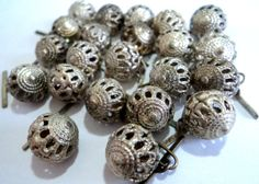 22x Silver Filigree Beads Buttons Drops by RagtimeBazaar on Etsy, $12.50