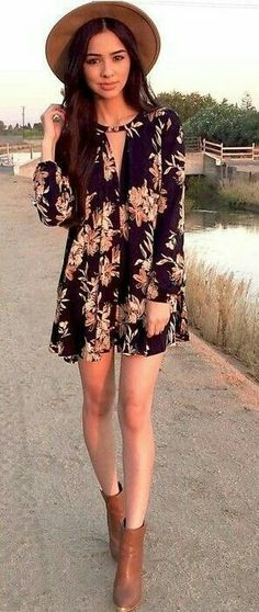 Picture consequence for black floral romper outfits Cool Summer Outfits, Casual Winter Outfits, Winter Dresses, Spring Outfits, Cool Outfits, Dress Winter, Casual Summer, Ankle Boots Outfit Summer, Dress With Boots