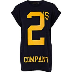 Navy two's company print oversized t-shirt - print t-shirts / vests - t shirts / vests / sweats - women
