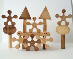 Stacking Balancing Wood Blocks Play Set 23 Pieces Hand Cut Scroll Saw.