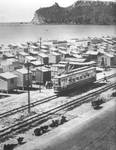 I casotti del Poetto ed il tram...anni 50 . Cagliari