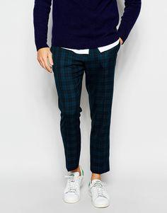 ASOS Slim Smart Cropped Trousers In Tartan