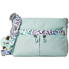 Kipling Angie (Greenery Adventure Combo) Handbags ($79) ❤ liked on Polyvore featuring bags, handbags, shoulder bags, purse crossbody, shoulder strap handbags, nylon crossbody handbags, shoulder strap bags and handbags crossbody