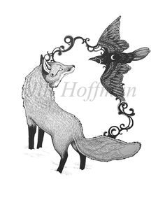 Harmony  Animal Symbolism Fox and Raven drawing  8 by ForeverPine, $15.00