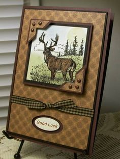 handmade card .... Good Bye Good Luck by card crazy  ...luv all the rich brown tones ... framed deer image ... brown grosgrain ribbon ... brown metallic brads ... lots of layers ... Stampin' Up!