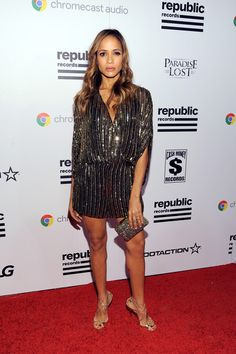 On the Scene: The Republic Records Grammy After Party featuring Miranda Kerr in a Spring 2016 Versace Green Dress, Dania Ramirez in a Parker Jumper, The Weeknd in Givenchy, and more! Dania Ramirez, Daily Fashion, Fashion News, Girl Fashion, Fashion Looks, Celebrity Red Carpet, Celebrity Style, Gold Strappy Heels, Strappy Sandals