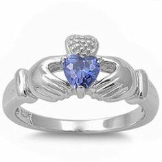 Irish Claddagh Heart Tanzanite Ring .925 Sterling Silver Ring