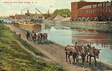 """""""Along the Erie Canal, Buffalo, N.Y."""" (No. M 71, Buffalo News Co., Buffalo, N.Y.) -- Postcard ; not postmarked ; approximately 1908."""