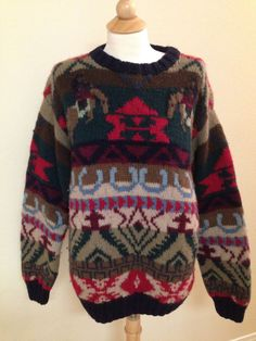 Vintage SHETLAND wool hand knit sweater mens LARGE green brown horse equestrian…