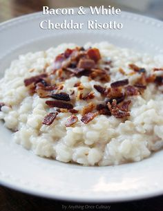 Bacon and white cheddar cheese risotto is such a perfect comfort food. Change it up or make it as is, complete with a video tutorial.
