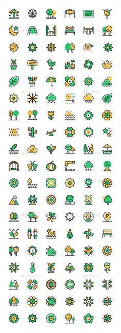 125+ Flat Nature Icons Set Vector EPS, AI Illustrator