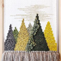 "Rina on Instagram: ""A close up of the sister piece to the blue textured mountain! Green and yellow are my personal favs! 💚 Thank you for all the love and…"" M Craft, Craft Ideas, Small Tent, Best Photoshop Actions, Santa Crafts, Shabby, Weaving Projects, Woven Wall Hanging, Tapestry Weaving"