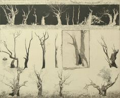 Jorg Schmeisser - Gumtrees on the way to Sydney, 1978 Sky And Clouds, Printmaking, Galleries, Fountain, Sydney, Illustration Art, Trees, Manga, Prints