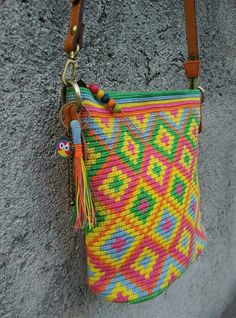 Tapestry crochet made from waxed cotton cord 1mm. cross body style