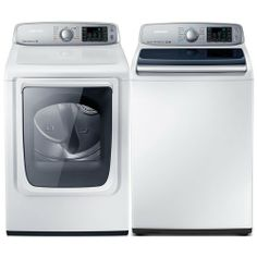 Samsung Appliances ENERGY STAR® 5.0 Cu. Ft. Top Load Washer and 7.4 Cu. Ft. Front Load Gas Dryer with Steam Dry #appliance