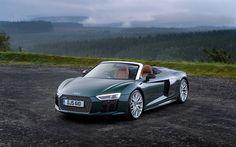 Lataa kuva 4k, Audi R8 Spyder V10 Plus, 2017 autot, cabrioletteja, Audi R8, superautot, Audi