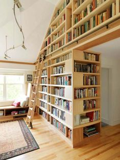 rolling library ladder Family Room Rustic with built in bookshelf built in bookshelves Floor to Ceiling Library Ladder, Library Room, Dream Library, Future Library, Reading Library, City Library, Home Library Design, House Design, Library Ideas