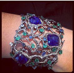 Arunashi Tanzanite,diamonds and emerald cuff
