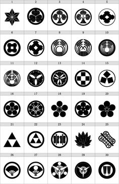 Japanese Kamon 家紋: Kamon are emblems used to identify a family (coats of arms) in Japan.
