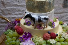 DIY Wedding, tiered cheese course cheese cake with flowers and fruit