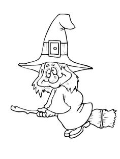 halloween witch on broom… Halloween Coloring Sheets, Witch Coloring Pages, Printable Coloring Pages, Adult Coloring Pages, Coloring Books, Theme Halloween, Halloween Cards, Holidays Halloween, Vintage Halloween