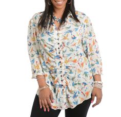 fae360ecc2758 Plus size fashion for women - This beautiful top features an all over bird  print.