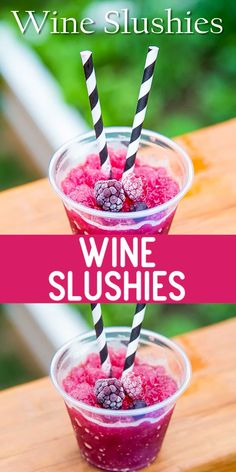 Wine slushy made with mixed frozen berries and a bott… Mixed berry wine slushies! Wine slushy made with mixed frozen berries and a bottle of rosé! Rose wine makes the best berry frosé! via DessertForTwo Slushy Alcohol Drinks, Alcohol Drink Recipes, Frozen Alcoholic Drinks, Alcoholic Shots, Gin Recipes, Liquor Drinks, Punch Recipes, Frozen Cocktails, Wine Cocktails