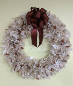 16 Cream and Rust colored Wreath by PensPreciousTreasure on Etsy