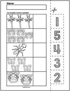 Teach counting skills with these Spring Bugs! Great for teaching counting skills and number recognition for numbers No prep and great for math centers! Bug Activities, Preschool Learning Activities, Free Preschool, Free Math, Preschool Lessons, Preschool Number Worksheets, Pre K Worksheets, Kindergarten Freebies, Math Centers
