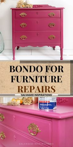 HERE'S HOW TO FIX VENEER, PLUG HARDWARE HOLES, AND REPAIR SMALL AND LARGE WOOD IMPERFECTIONS WITH BONDO. [VIDEO] #siblog #salvagedinspirations #bondorepair #furniturerepair #paintedfurniture #dixiebellepaint #plumcrazy #bondo Furniture Repair, My Furniture, Refurbished Furniture, Custom Furniture, Furniture Makeover, Painted Furniture, Western Bedroom Decor, Scratched Wood, Homemade Paint