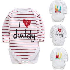 0-12M Newborn Infant Baby Boys Girls Clothes Long Sleeve Cotton Bodysuit Love Mummy Daddy Cute Toddler Kids Clothing Bebes #>=#>=#>=#>=#> Click on the pin to check out discount price, color, size, shipping, etc. Save and like it!