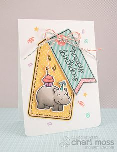 Lawn Fawn birthday tags & year four hippo birdie to you