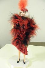 Flapper outfit for  Barbie - Dress, boa, necklace, headpiece - Dance away