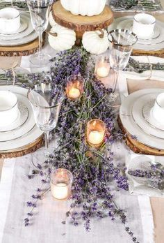 Create a classy and elegant Lavender Fall Tablescape filled with blooms from you. - Create a classy and elegant Lavender Fall Tablescape filled with blooms from your own yard! Give it a fall look using white pumpkins and tea light candles. Lavender Wedding Decorations, Lavender Centerpieces, Wedding Colors, Wedding Ideas, Wedding Themes, Summer Wedding, Wedding Bride, Centerpiece Ideas, Lavender Weddings