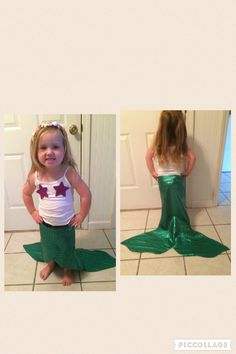No sew mermaid tail. Cut the tail out of fabric and superglue Velcro to secure around waist. Great for dress up or Halloween!