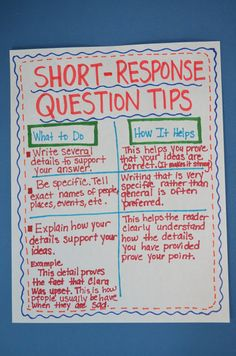 Literacy & Math Ideas: Tips for Answering Short-Response Questions