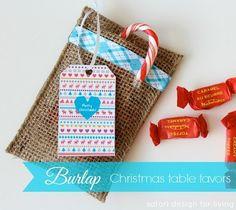 Tutorial: Burlap ribbon favor bags