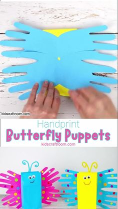 Make a pretty Paper Bag Butterfly Puppet Craft. This 3D handprint butterfly craft is so easy and cute! Paper bag puppets are so fun for kids big and small and a great way to encourage imaginative play. #kidscraftroom #butterflycrafts #paperbagcrafts #handprintcrafts #puppetcrafts #kidscrafts #butterflies Easy Preschool Crafts, Classroom Crafts, Craft Activities For Kids, Toddler Crafts, Preschool Christmas, Thanksgiving Activities, Creative Activities, Preschool Art, Christmas Christmas