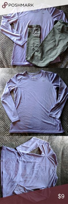 Nike Dri-Fit long sleeve top Color: lavender Fit: casual Description/Condition: Dri-fit helps to wick away moisture! Pre-loved condition, no holes/pilling. There are 2 small stains on bottom half of front (see last photo)- difficult to see but just so you know😊 Material:100% polyester  ❤️ ALWAYS OPEN TO OFFERS/QUESTIONS ❤️ DISCOUNT FOR 2+ BUNDLE 🎉 Nike Tops Tees - Long Sleeve