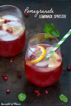 Pomegranate Lemonade Spritzer - freshly squeezed lemonade, pomegranate juice and sparkling water create a refreshing seasonal drink! #pomegranate