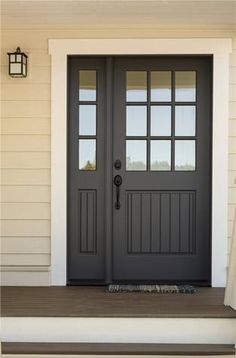 Dream Home Inspiration Dark grey storm door for front door entry with panel detail and side pane win Garage Door Design, Front Door Design, Front Door Colors, Garage Doors, Garage Door Colors, Garage Door Styles, Front Doors With Windows, Painted Front Doors, House With Grey Windows