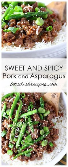 Sweet and Spicy Pork and Asparagus Recipe Ground pork and fresh asparagus are sauteed in a sweet and spicy Asian sauce then served over rice in this unique and delicious dish pork asparagus dinner recipe Pork Recipes For Dinner, Meat Recipes, Asian Recipes, Cooking Recipes, Healthy Recipes, Pork And Rice Recipes, Rabbit Recipes, Venison Recipes, Best Asparagus Recipe