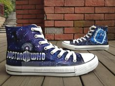 Doctor Who high top blue canvas sneakers for men women hand painted fashion shoes US $79.99