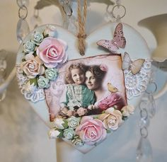 Mother & Daughter hand crafted wooden heart. Vintage image from #cardmakersdelights , flowers from #wildorchidcrafts , wooden heart from #craftshapes.co.uk