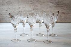 Vintage crystal glasses Set of 6 Barware Wine glasses Cut crystal Wedding gift Bar glasses by Retronom on Etsy