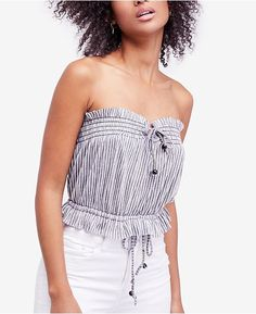 593f160e26 Free People Peppermint Striped Strapless Top   Reviews - Tops - Women -  Macy s