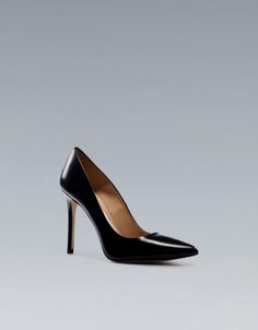 Zara Leather High Heeled Court Shoe in Black (not available)