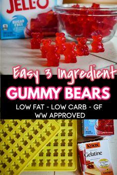 Homemade Gummy Bears, Homemade Gummies, Homemade Candies, Jello Gummy Bears, Gummy Bear Recipe With Jello, Gummies Recipe Jello, Jello Recipes, Candy Recipes, Free Recipes